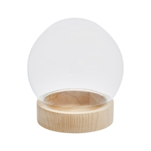 Achat en ligne Coupe forme boule en verre + support bois 19x20,5cm