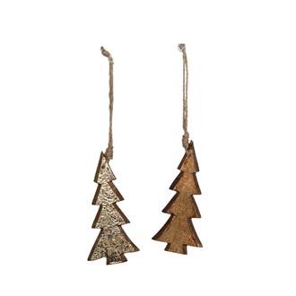 Décoration de Noël sapin à suspendre métalisé H13.5cm