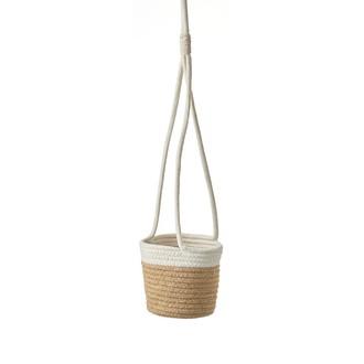 Cache pot à suspendre en coton blanc cassé/corde lombok h65xd15cm