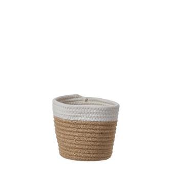 Cache pot en coton blanc cassé/corde Lombok h15xd15cm