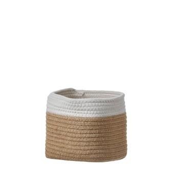 Cache pot en coton blanc cassé/corde Lombok h18xd18cm