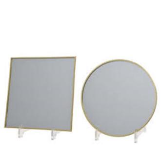 Plateau bougie miroir bord or rond/carré