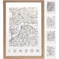 Cadre entre 2 verre contour bois carte des villes 24x33cm