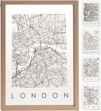Achat en ligne Cadre entre 2 verre contour bois carte des villes 24x33cm