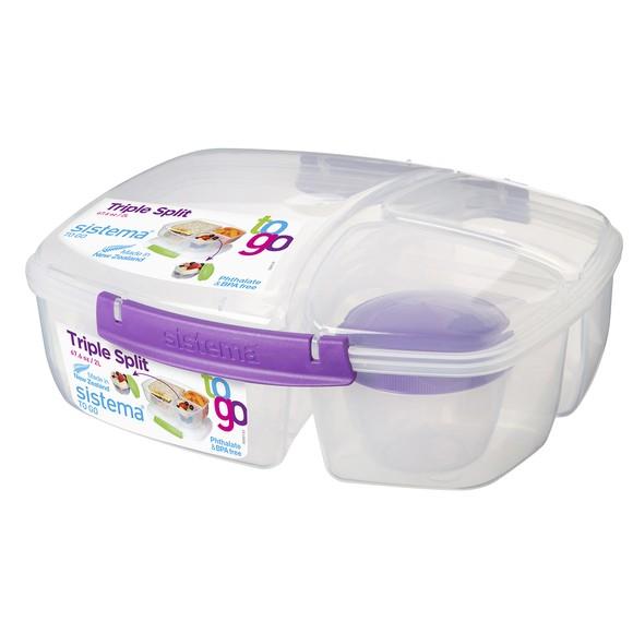 Lunch box avec 3 compartiments et pot de yaourt ou sauce 2L