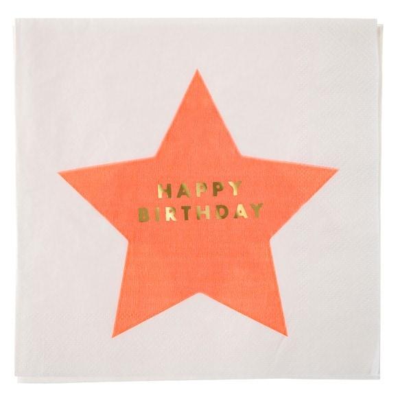 Paquet de 16 serviettes en papier imprimé étoiles Jazzy