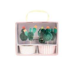 compra en línea Set de decoración de cactus de papel para magdalenas