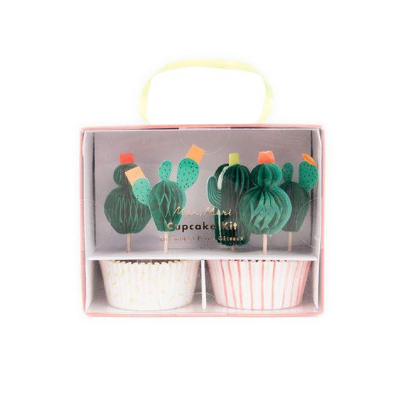Kit à muffins ou cupcakes cactus en papier