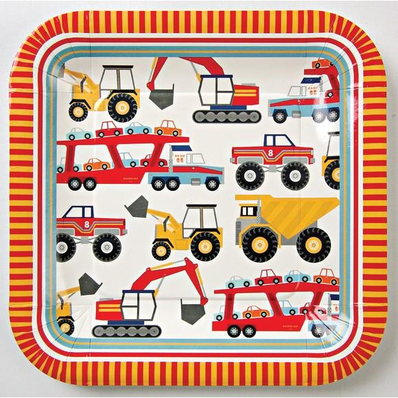 Paquet 12 assiettes carrées camion de chantier 22,8x22,8cm