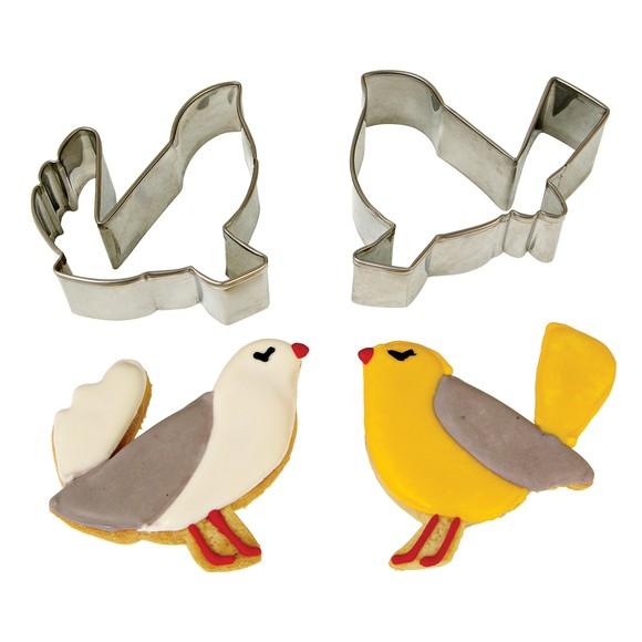Lot de 2 emporte-pièces oiseaux métal