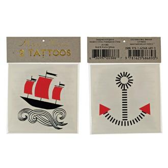 MERI MERI - 2 planches de tatouages Bateau  70x90mm