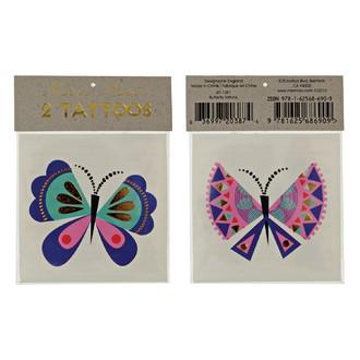 MERI MERI - 2 planches de tatouages Papillon 70x90mm