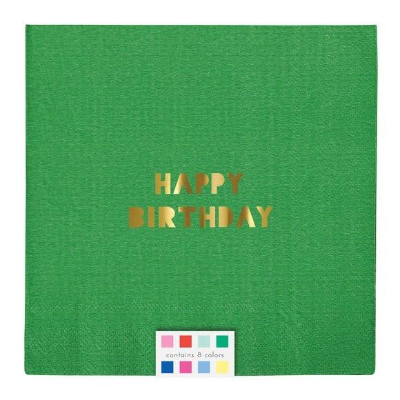 Paquet de 16 serviettes en papier imprimé happy birthday