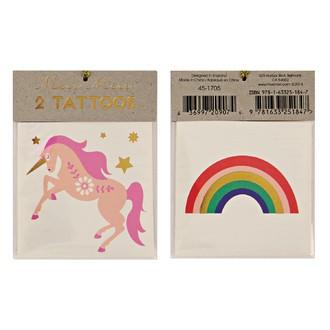 MERI MERI - 2 planches de tatouages Licorne 70x90mm