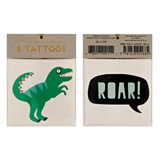 MERI MERI - 2 planches de tatouages Dinosaures  70x90mm