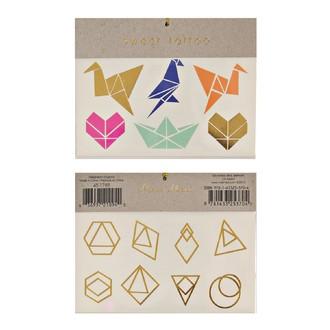 MERI MERI - 2 planches de tatouages Origami 115x90mm