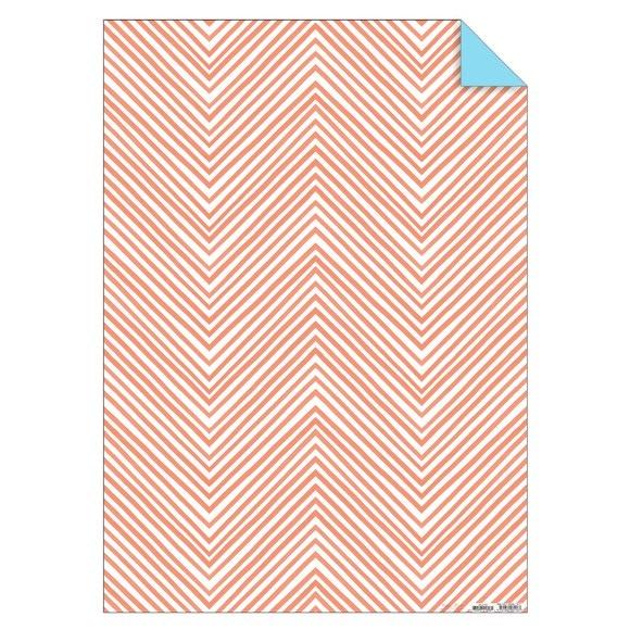 Feuille de papier chevrons corail fluos 50x70cm