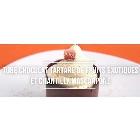 Tube chocolat, tartare de fruits exotiques et chantilly mascarpone