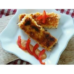 Croquettes de tofu à la moutarde, aux tomates et poivron rouge