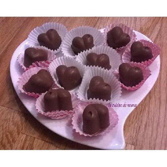 Bonbons chocolat coeur caramel