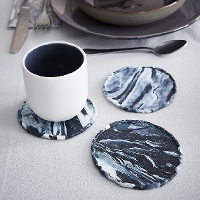Mes dessous de verre en pâte fimo effet marbre