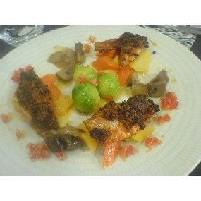 Rouget en croute de chorizo et petits légumes
