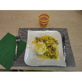 Suprême de volaille au curry/Coco et petits légumes