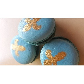 Macaron bleu et or, fourrage aux haricot de soissons