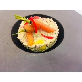 Risotto de quinoa aux légumes d'antan, écume safranée (végétarien)