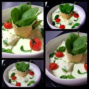 Les ravioles agnolotti épinard,coppa,et parmesan,crème de pesto