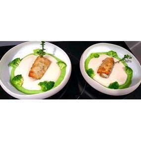 Dos de lieu en croûte d herbes et parmesan mousseline de haricots blancs