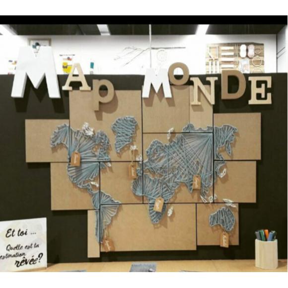 ma map monde en string art fiche diy deco z dio. Black Bedroom Furniture Sets. Home Design Ideas