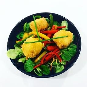 Wok de légumes et beignet de cabillaud