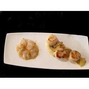 St jacques: carpaccio aux agrumes et pôelée , légumes raves