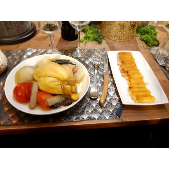 poule ou coquelet au pot, gratin de macaroni