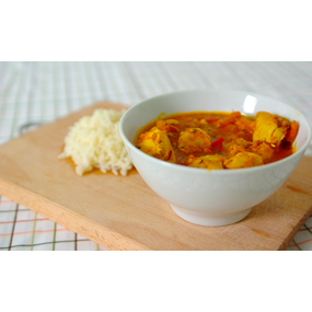 Poulet à l indienne ,  chana daal ti pois , sauce curry tomate