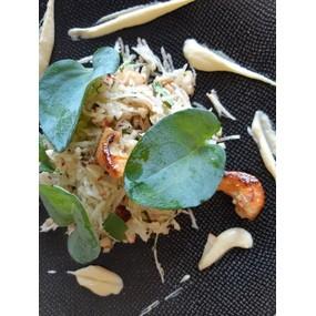 Rémoulade d'asperges blanches/tomates confites, gravlax de sardine.