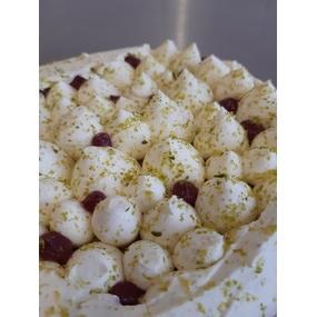 Tarte fantastik pistache/griotte/chocolat blanc