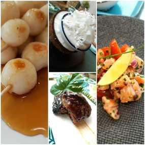 Dango :  brochettes de boulettes sucrées et haupia : pudding coco/meringue rhum