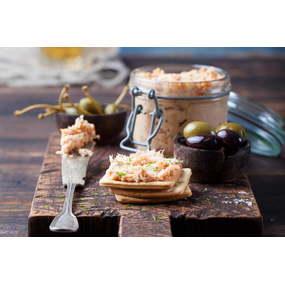 Recette de blinis, rillettes de duo de saumon à la ciboulette
