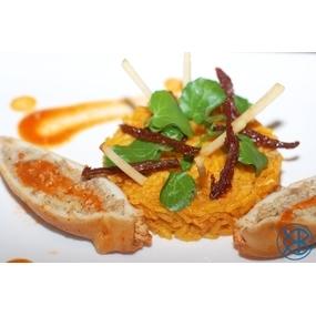 Encornets sicilienne et carottes cuite à l'orange et cumin