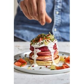 Pancakes di barbabietola arcobaleno