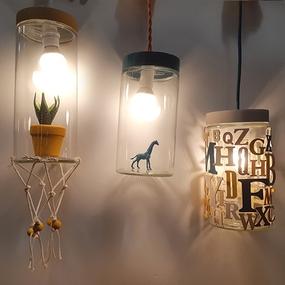 Mis lámparas con tarros decorados