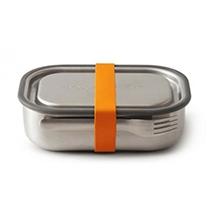 compra en línea Tupper de acero inoxidable con tenedor y goma para cierre naranja